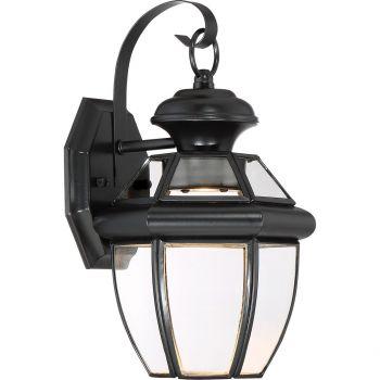 "Quoizel Newbury 12.5"" Clear LED Outdoor Wall Lantern in Mystic Black"