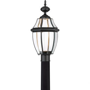"Quoizel Newbury 21.5"" Clear LED Outdoor Post Top Light in Mystic Black"