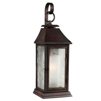 "Feiss Shepherd 19.13"" Outdoor Wall Sconce in Heritage Copper"