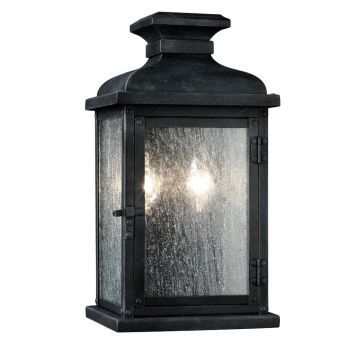 """Feiss Pediment 12.5"""" 2-Light Outdoor Wall Sconce in Dark Weathered Zinc"""
