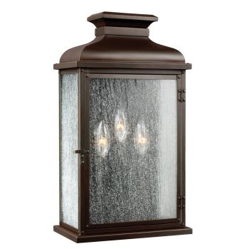 """Feiss Pediment 23.88"""" 3-Light Outdoor Wall Sconce in Dark Aged Copper"""