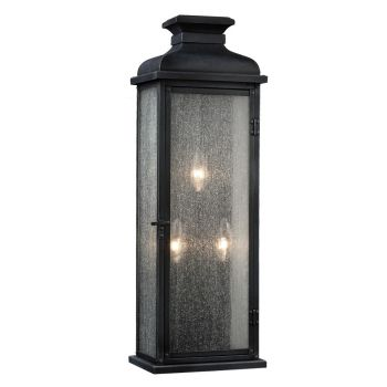 """Feiss Pediment 10"""" 3-Light Outdoor Wall Sconce in Dark Weathered Zinc"""