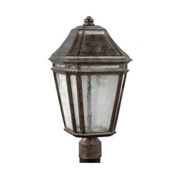 """Feiss Londontowne 19.5"""" LED Outdoor Post Lantern in Weathered Chestnut"""