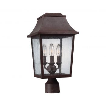 Feiss Estes 3-Light Outdoor Post Lantern in Patina Copper