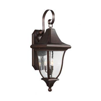 "Feiss Oakmont 33.75"" 3-Light Outdoor Wall Lantern in Patina Bronze"