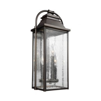 "Feiss Wellsworth 18.25"" 3-Light Outdoor Wall Lantern in Antique Bronze"