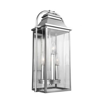 "Feiss Wellsworth 18.25"" 3-Light Outdoor Wall Lantern in Brushed Steel"