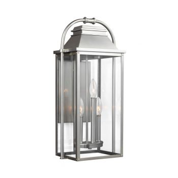 "Feiss Wellsworth 22.75"" 3-Light Outdoor Wall Lantern in Brushed Steel"