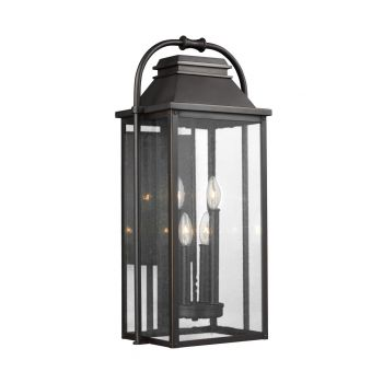 "Feiss Wellsworth 27"" 4-Light Outdoor Wall Lantern in Antique Bronze"