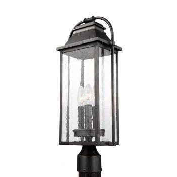 "Feiss Wellsworth 20.75"" 3-Light Outdoor Post Lantern in Antique Bronze"