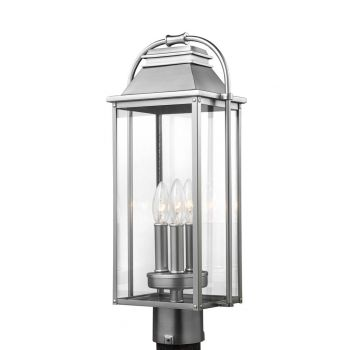 "Feiss Wellsworth 20.75"" 3-Light Outdoor Post Lantern in Brushed Steel"
