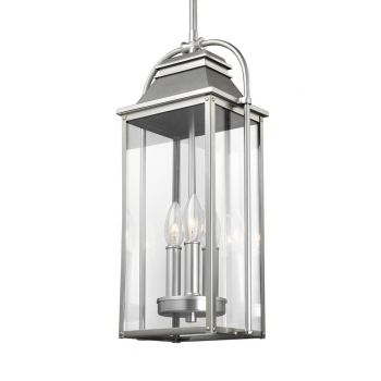 Feiss Wellsworth 3-Light Outdoor Hanging Lantern in Brushed Steel
