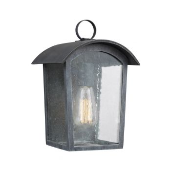 """Feiss Hodges 11.75"""" Outdoor Wall Lantern in Ash Black"""