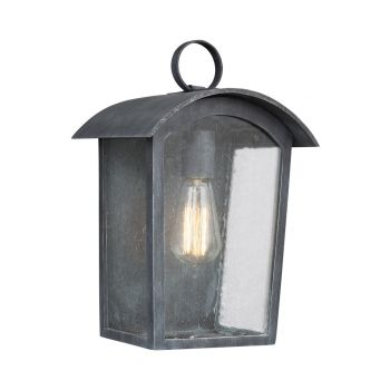 "Feiss Hodges 13.75"" Outdoor Wall Lantern in Ash Black"