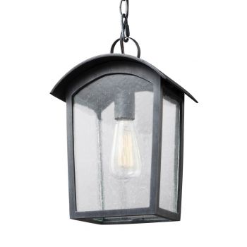 """Feiss Hodges 13.75"""" Outdoor Hanging Lantern in Ash Black"""