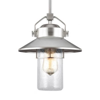 "Feiss Boynton 11"" Outdoor Pendant Lantern in Painted Brushed Steel"