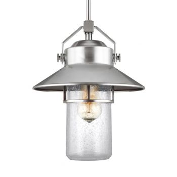 "Feiss Boynton 13"" Outdoor Pendant Lantern in Painted Brushed Steel"
