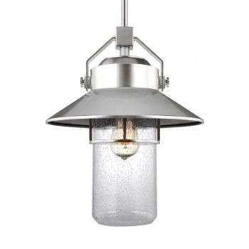 "Feiss Boynton 15.5"" Outdoor Pendant Lantern in Painted Brushed Steel"