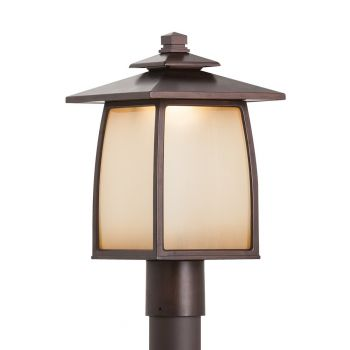 """Feiss Wright House 16.19"""" LED Outdoor Lantern Post in Sorrel Brown"""