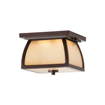 "Feiss Wright House 9"" 2-Light LED Outdoor Flush Mount in Sorrel Brown"