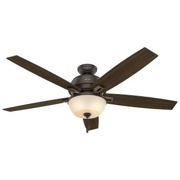 "Hunter Donegan Bowl 60"" 2-Light LED Indoor Ceiling Fan in Bronze/Brown"