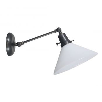 "House of Troy Otis 5"" White Industrial Wall Lamp in Oil Rubbed Bronze"