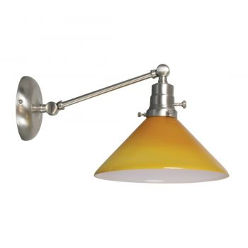 """House of Troy Otis 5"""" Amber Shade Industrial Wall Lamp in Satin Nickel"""
