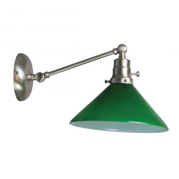 "House of Troy Otis 5"" Green Shade Industrial Wall Lamp in Satin Nickel"