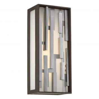 """George Kovacs Bars 13"""" Outdoor Wall Light in Bronze with Silver"""