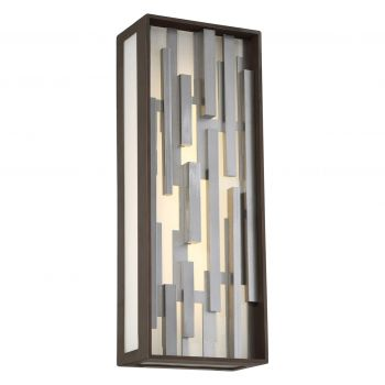 """George Kovacs Bars 17"""" Outdoor Wall Light in Bronze with Silver"""