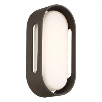 """George Kovacs Floating Oval 11"""" Outdoor Wall Light in Pebble Bronze"""
