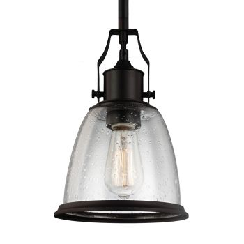 Feiss Hobson Mini-Pendant in Oil Rubbed Bronze w/ Clear Seeded Glass