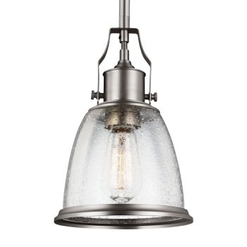 """Feiss Hobson 7.5"""" Mini-Pendant in Satin Nickel w/ Clear Seeded Glass"""