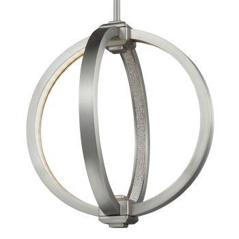 """Feiss Khloe 12"""" LED Globe Pendant in Satin Nickel"""