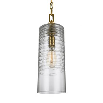 """Feiss Elmore 6"""" Clear Glass Pendant in Burnished Brass"""