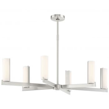 "George Kovacs Tube 6-Light 19"" Pendant Light in Brushed Nickel"