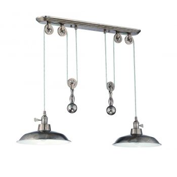 "Craftmade 2-Light 12"" Pendant Light in Tarnished Silver"