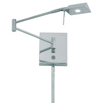 """George Kovacs George'S Reading Room 6"""" Wall Lamp in Chrome"""