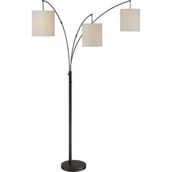 "Quoizel Portable Lamp 84"" 3-Light Floor Lamp in Oil Rubbed Bronze"