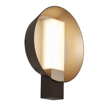 "Tech Refuge 14.4"" 2700K Round Outdoor Wall Sconce in Bronze/Gold Haze"