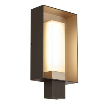 "Tech Refuge 16.8"" 2700K Square Outdoor Wall Sconce in Bronze/Gold Haze"