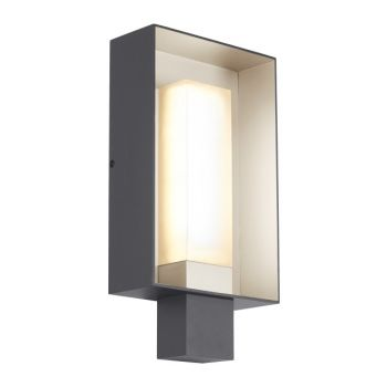 "Tech Refuge 16.8"" 2700K Square Outdoor Wall Light in Charcoal/Satin Haze"