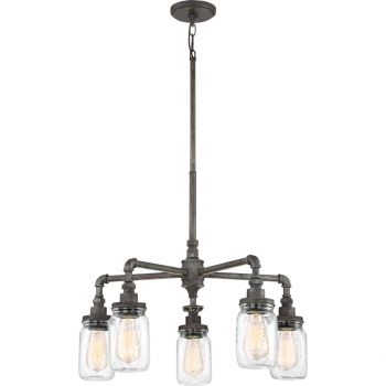 "Quoizel Squire 26"" 5-Light Clear Glass Chandelier in Rustic Black"