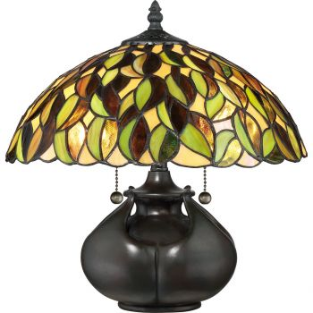 "Quoizel Tiffany 14.5"" 2-Light Table Lamp in Valiant Bronze"
