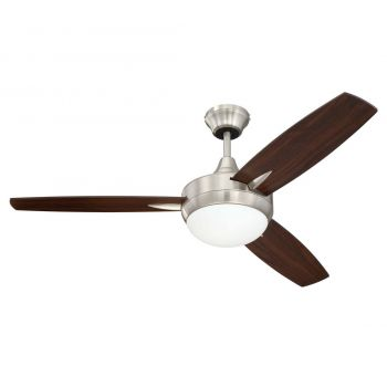 "Craftmade Targas 48"" Ceiling Fan w/ Blades & LED Kit in Polished Nickel"