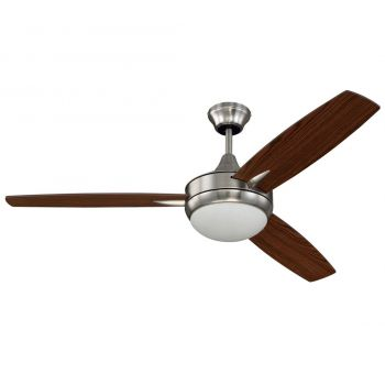 "Craftmade Targas 52"" Ceiling Fan with Blades and LED Light Kit in White"
