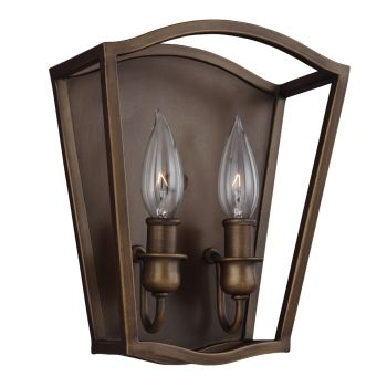 Feiss Yarmouth 2-Light Sconce in Painted Aged Brass