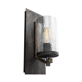 "Feiss Angelo 13"" Wall Sconce in Distressed Oak/Slate Grey Metal"