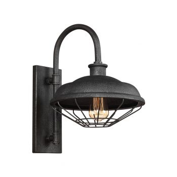 "Feiss Lennex 17.25"" Outdoor Wall Lantern in Slate Grey Metal"
