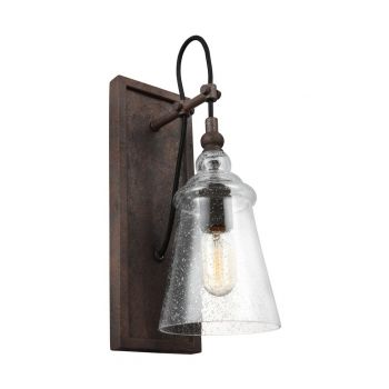 Feiss Loras Rustic Seeded Glass Wall Sconce in Dark Weathered Iron